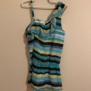 Striped asymmetrical top